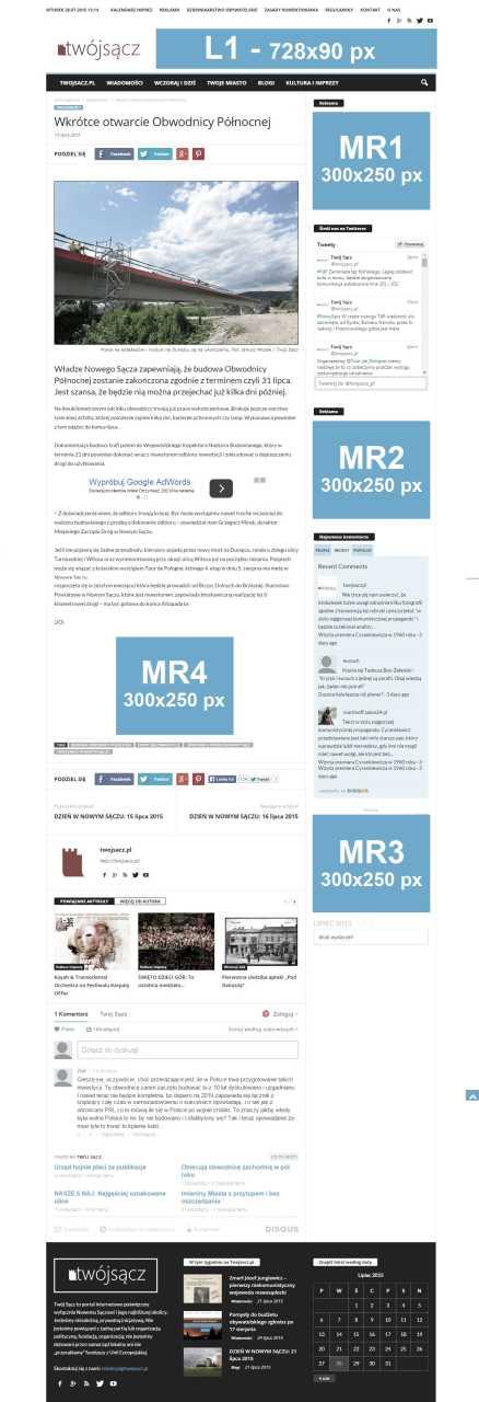 portal Twój Sącz - reklama w internecie