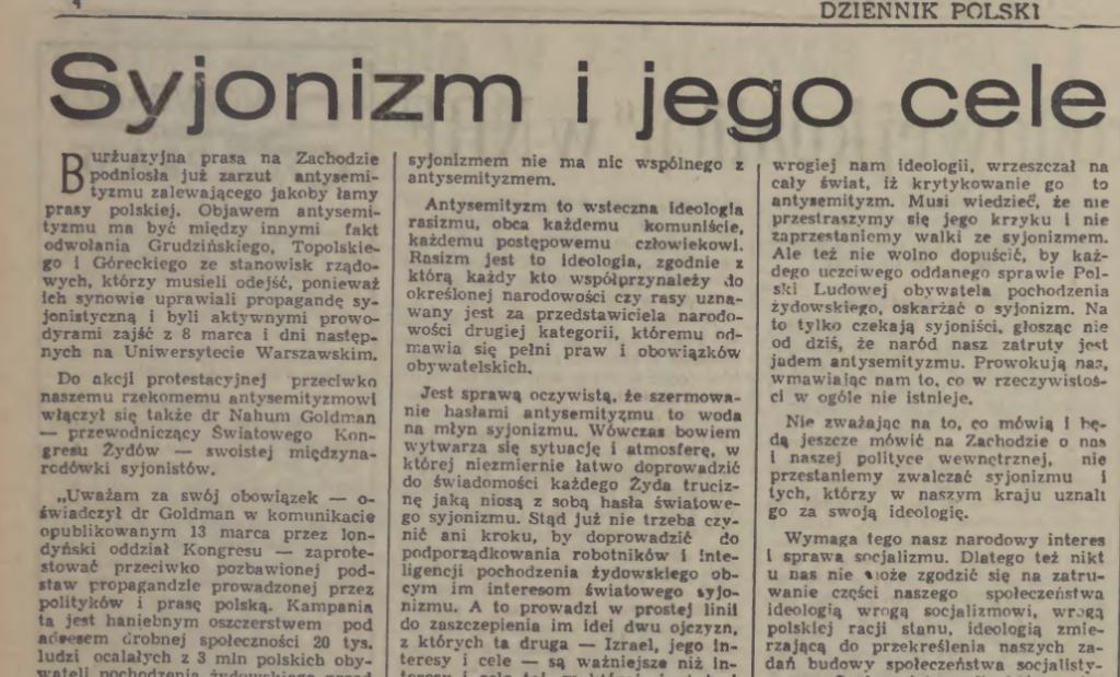 Dziennik Polski - 16 marca 1968 roku.