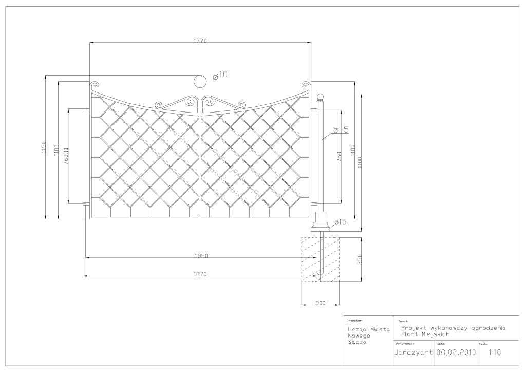 Rysunek nr 1 - ogrodzenie element 1