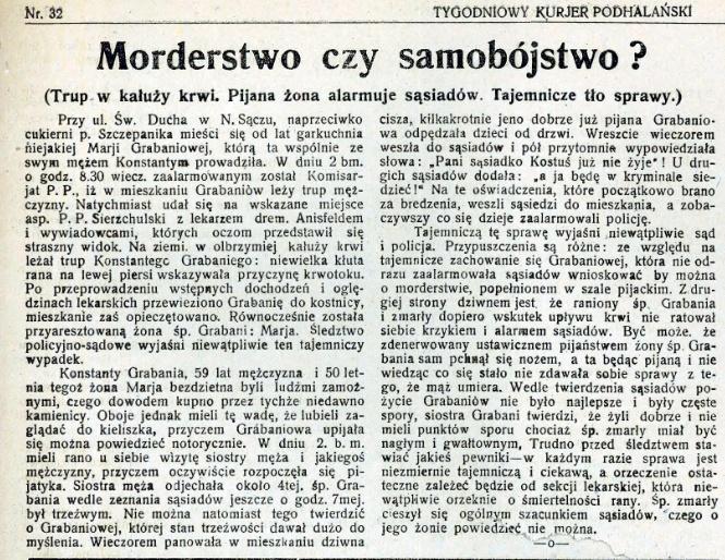 prasa międzywojennego Sącza Tygodniowy Kurier Podhalański