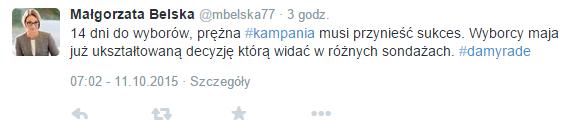 Małgorzata Belska tweet