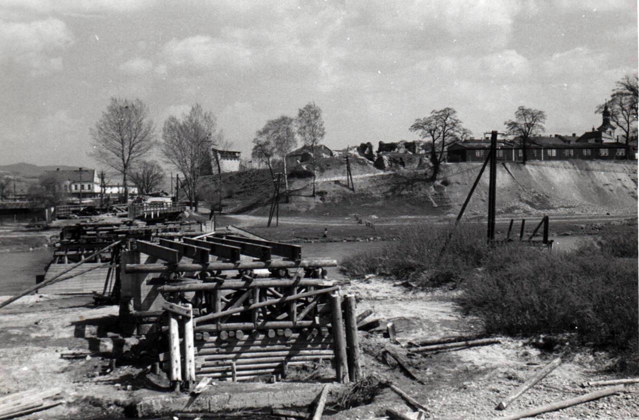rozbiórka mostu heleńskiego 1959 Nowy Sącz