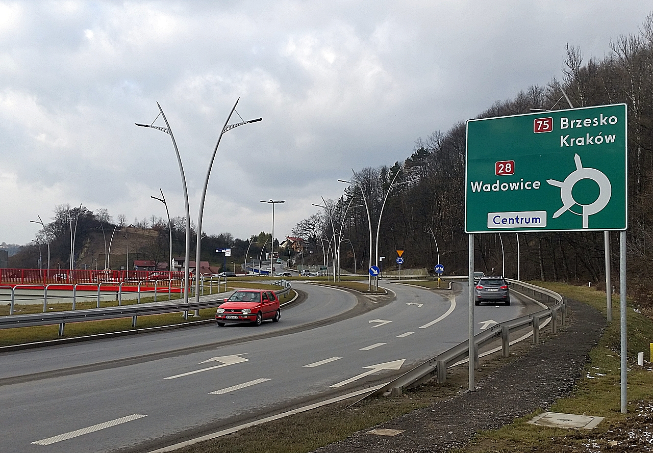 Nowy Sącz ulica Witosa wjazd na rondo Jana Pawła II