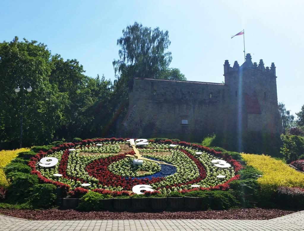 zegar kwiatowy z symboliką ŚDM