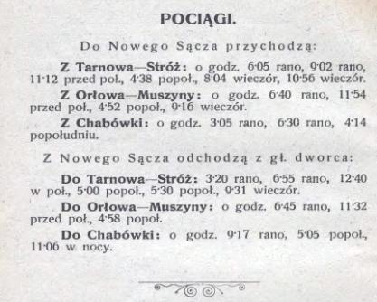 Nowy Sącz przygoda z koleją rozkład jazdy 1911