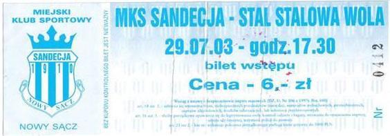 Sandecja Puchar Polski 2003