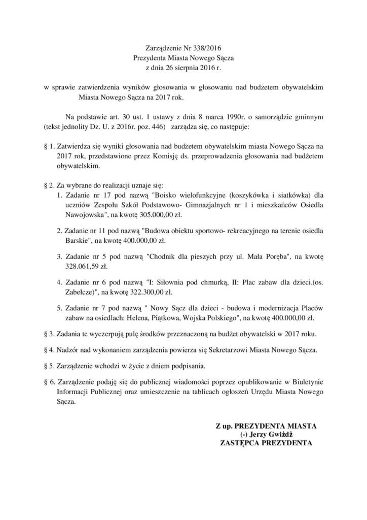 zarządzenie prezydenta miasta Nowego Sącza 338/2016