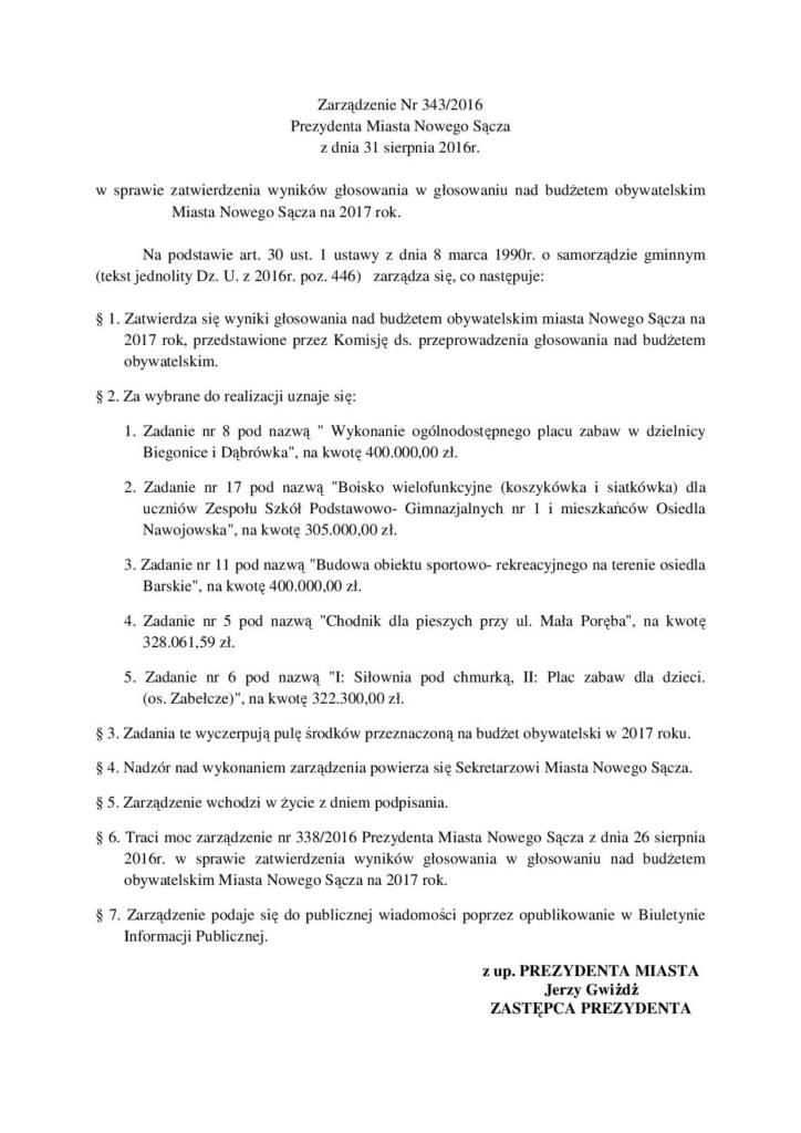 zarządzenie prezydenta miasta Nowego Sącza 343/2016