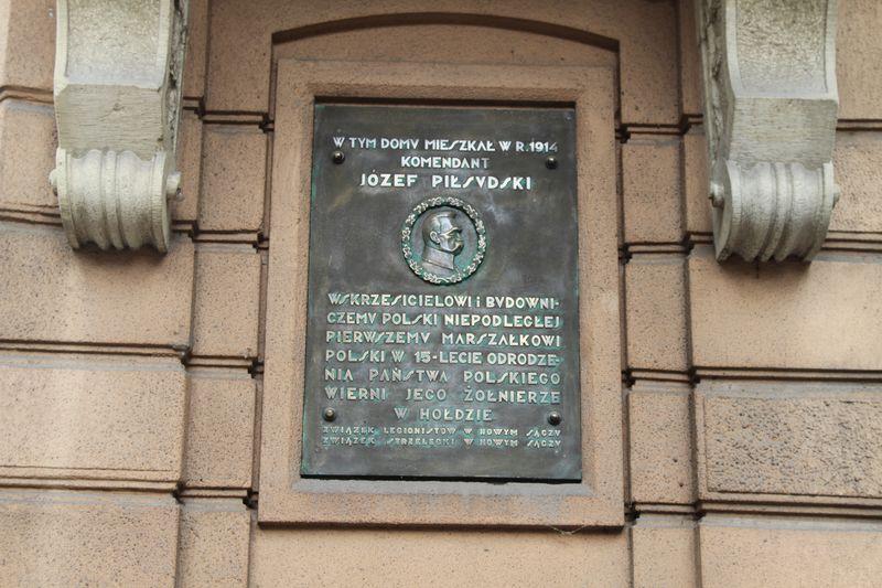 Piłsudski w Nowym Sączu tablica Dunajewskiego