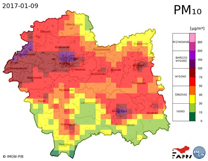 stężenie PM 10 Małopolska prognoza 9.01.17