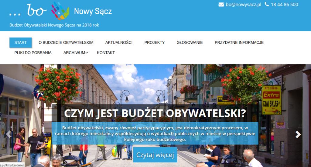 budżet obywatelski 2018 Nowy Sacz