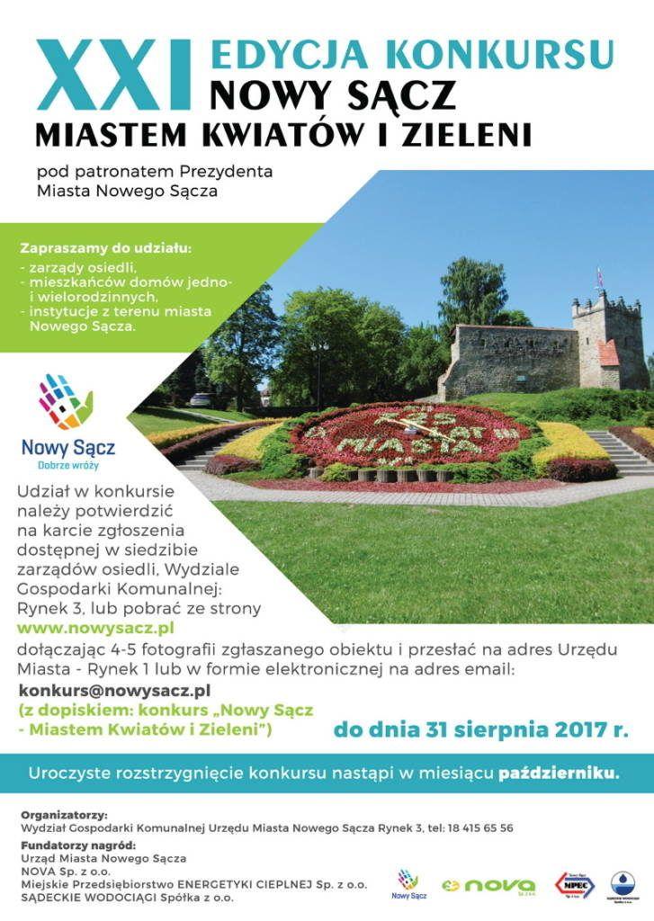 Nowy Sącz miastem kwiatów i zieleni 21 edycja konkursu