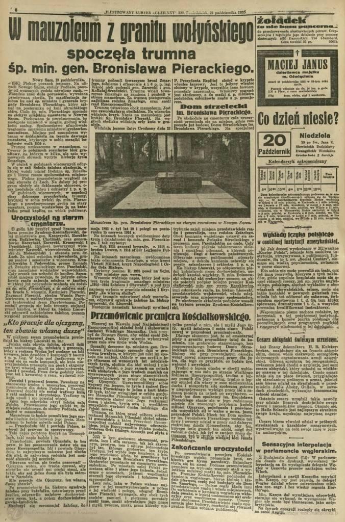 Ilustrowany Kuryer Codzienny, 21 października 1935. Skan Archiwum Państwowe w Krakowie / Małopolska Biblioteka Cyfrowa