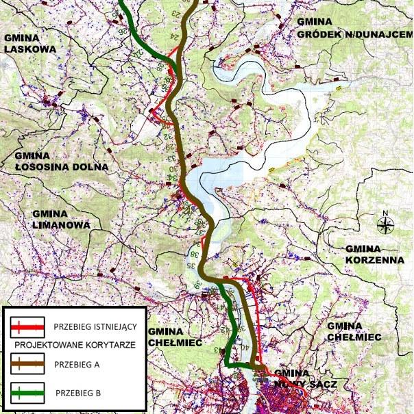 droga Nowy Sącz Brzesko warianty przebiegu