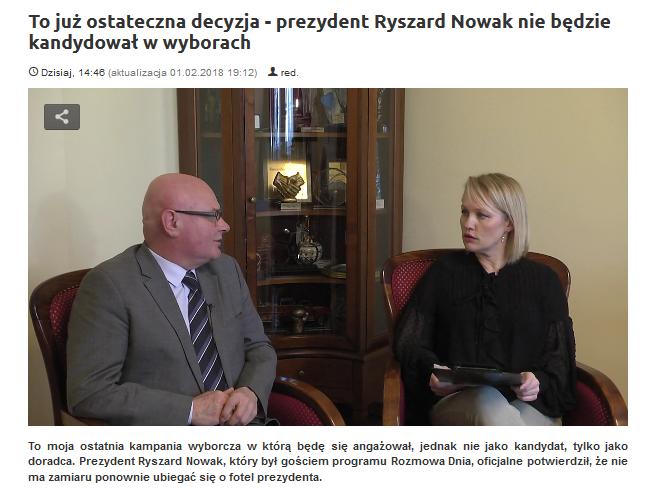 Ryszard Nowak dla Naszej Telewizji Sądeckiej