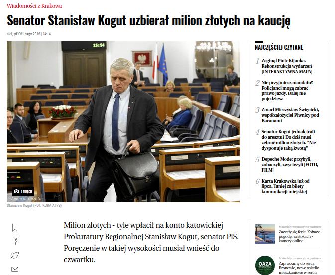 Milion złotych - tyle wpłacił na konto katowickiej Prokuratury Regionalnej Stanisław Kogut