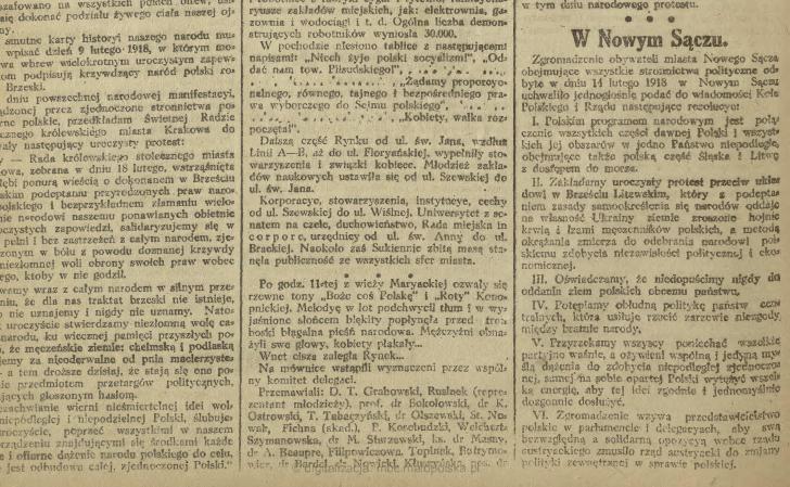 sądeckie drogi do niepodległości strajk 1918