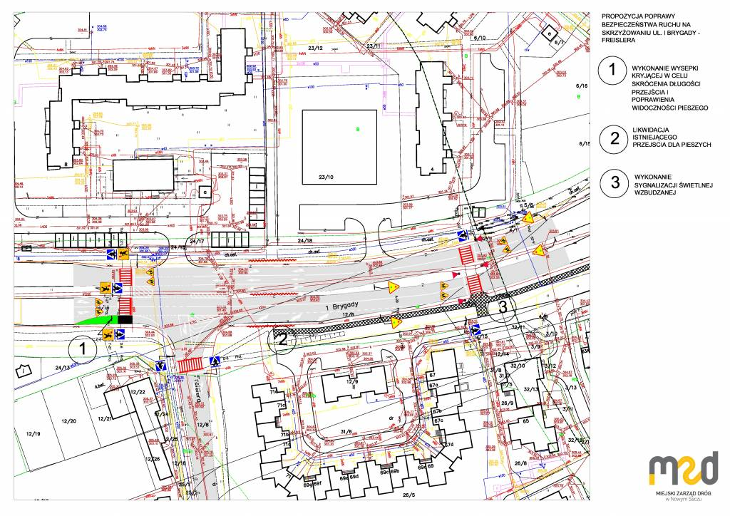 montaż sygnalizacji świetlnej na jednym z przejść dla pieszych na ul. 1 Brygady