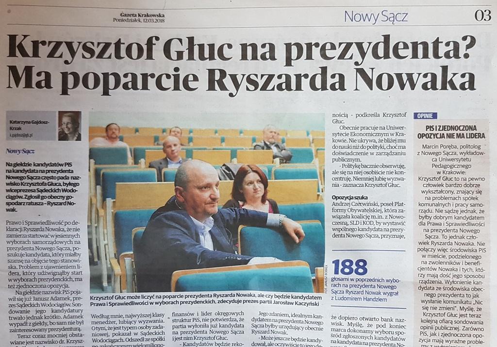 Krzysztof Głuc ma poparcie Ryszarda Nowaka