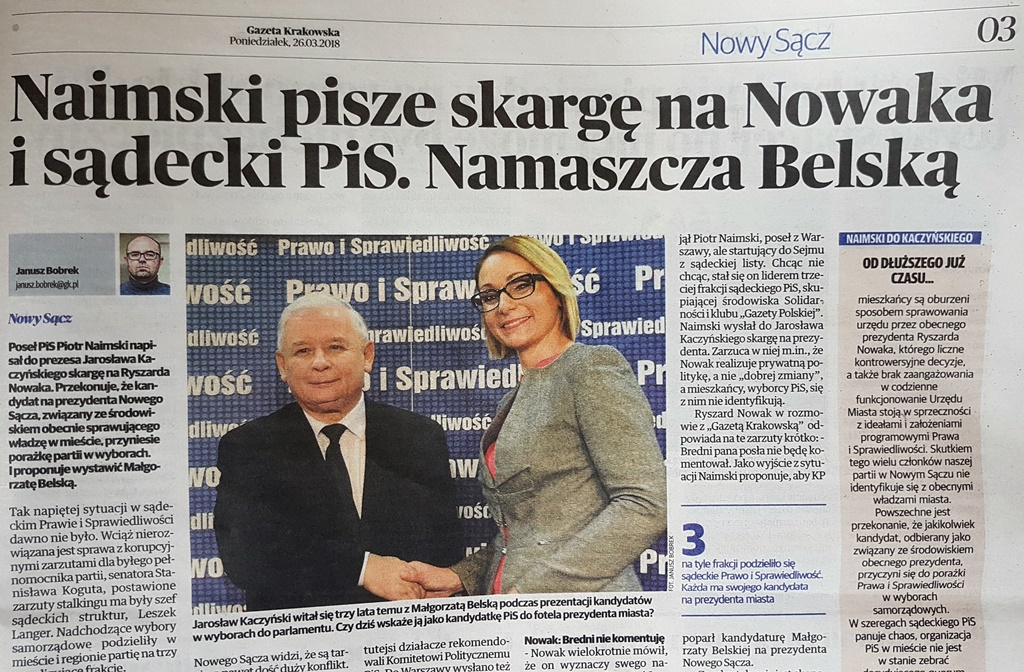 Poseł PiS Piotr Naimski napisał do prezesa Jarosława Kaczyńskiego skargę na Ryszarda Nowaka