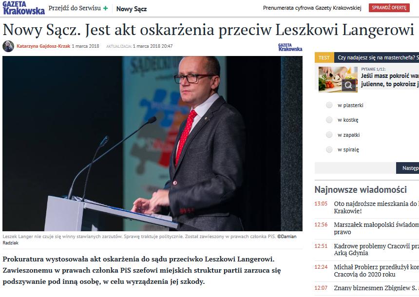 Prokuratura wystosowała akt oskarżenia do sądu przeciwko Leszkowi Langerowi