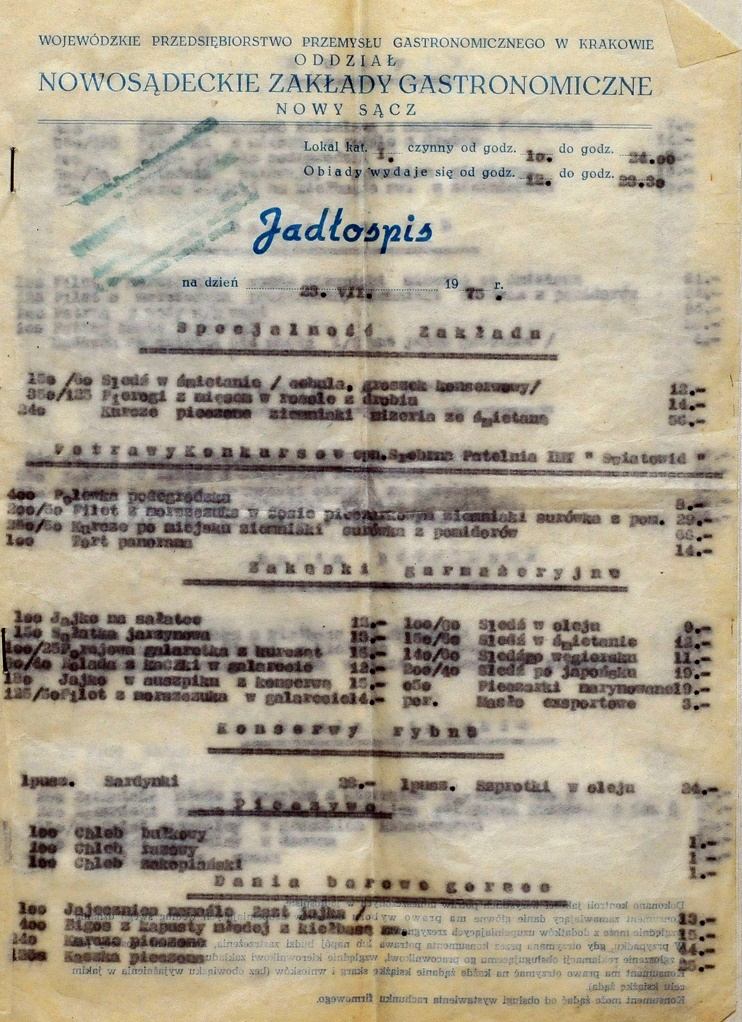 "restauracja ""Panorama"" menu 1975"