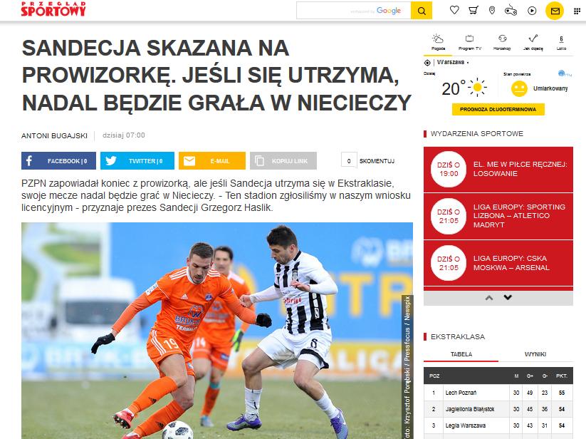 prezes Sandecji Grzegorz Haslik: stadion w Niecieczy zgłoszony we wniosku licencyjnym