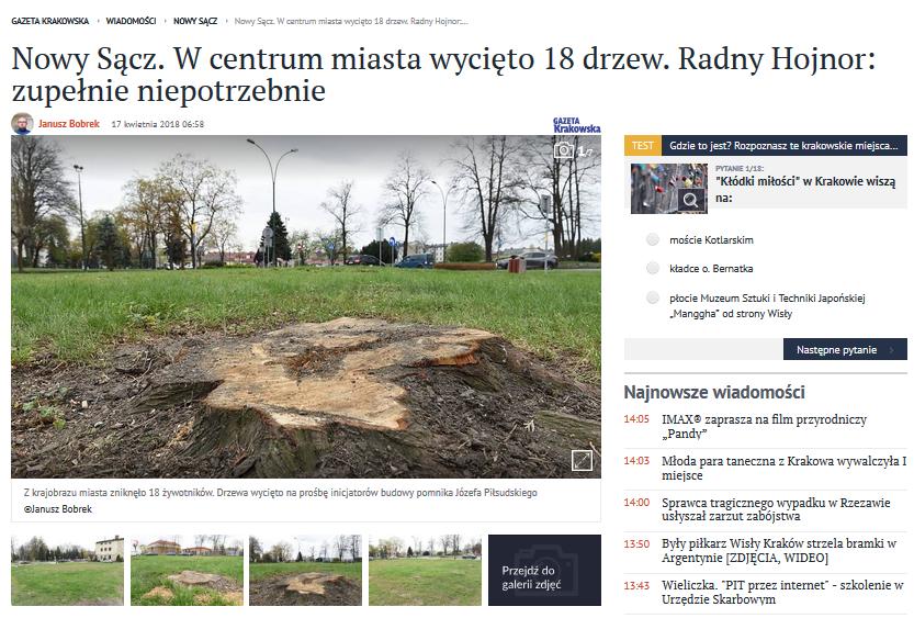 o wycięcie drzew poprosił Społeczny Komitet Budowy Pomnik Marszałka Piłsudskiego