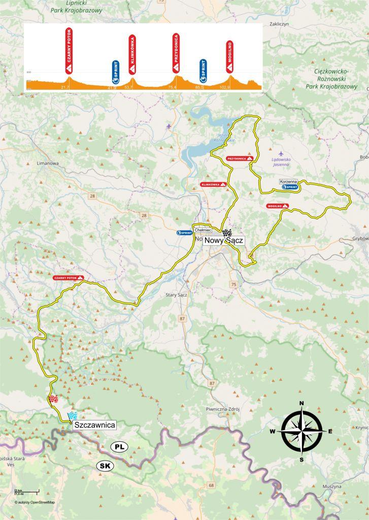trasa V etapu Karpackiego Wyścigu Kurierów 2 maja 2018