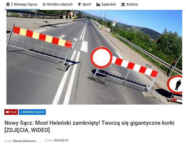 Nowy Sącz korki - zamknięty most