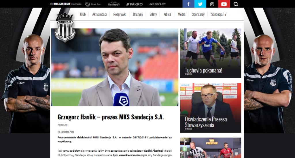 Grzegorz Haslik już nie jest prezesem Sandecji