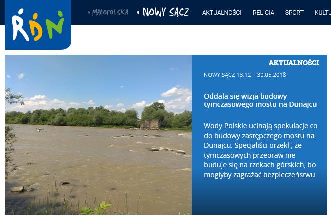 Wody Polskie ucinają spekulacje co do budowy zastępczego mostu na Dunajcu