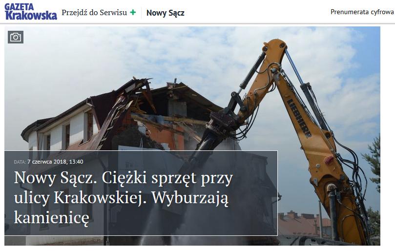 wyburzanie kamienicy przy Krakowskiej
