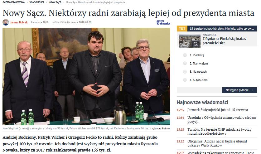 Gazeta Krakowska: Niektórzy radni zarabiają lepiej od prezydenta miasta