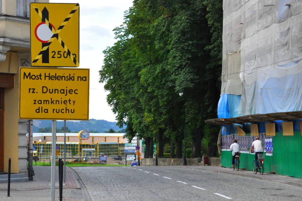 Nowy Sącz skrzyżowanie pod zamkiem zamknięte na czas przebudowy