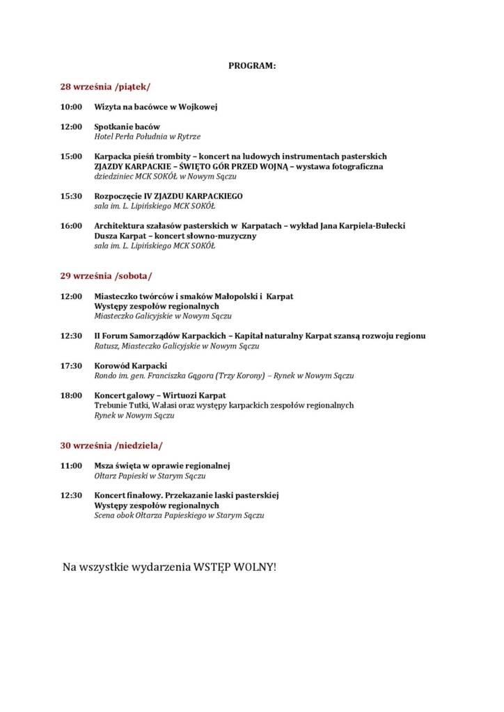 Zjazd Karpacki program 2018