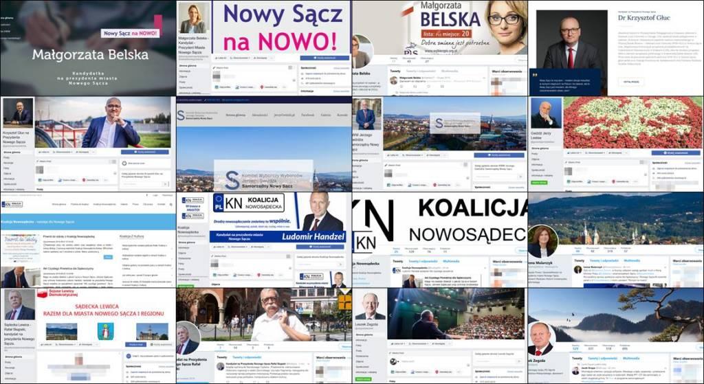 Strony www i media społecznościowe kandydatów na prezydenta Nowego Sącza