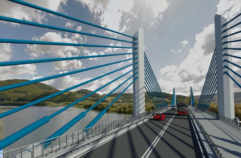 wizualizacja nowego mostu na Dunajcu w Kurowie