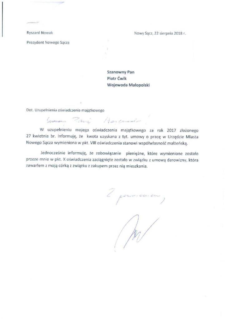 Oświadczenie majątkowe prezydenta