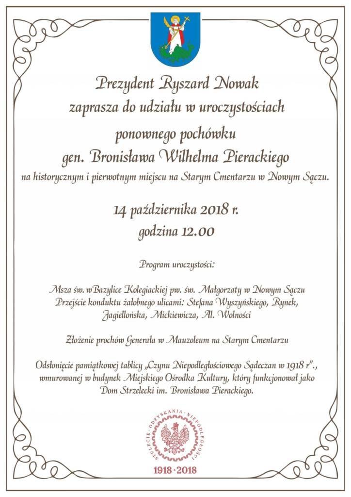 14 października odbędą się uroczystości ponownego pochówku generała Bronisława Wilhelma Pierackiego