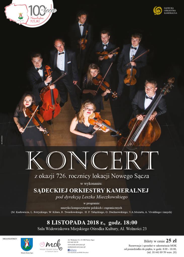 koncert z okazji 726. rocznicy lokacji Nowego Sącza w wykonaniu Sądeckiej Orkiestry Kameralnej pod dyrekcją Leszka Mieczkowskiego