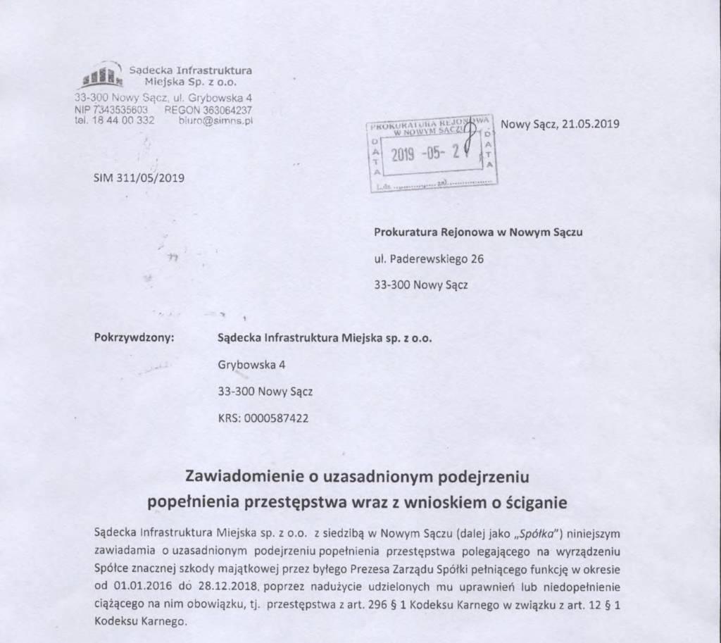 SIM wniosek do prokuratury