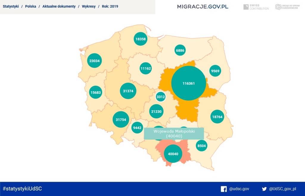Liczba cudzoziemców posiadających ważne zezwolenia na pobyt (m.in. czasowy lub stały) wydane w województwie małopolskim
