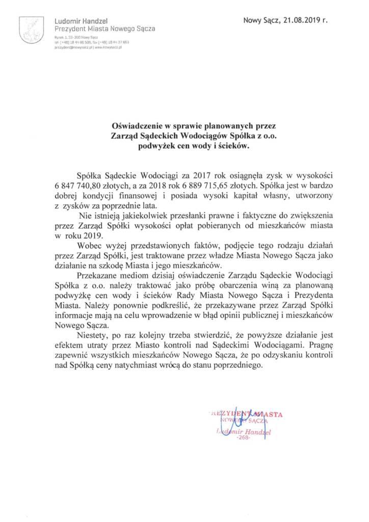 oświadczenie w sprawie Sądeckich Wodociągów