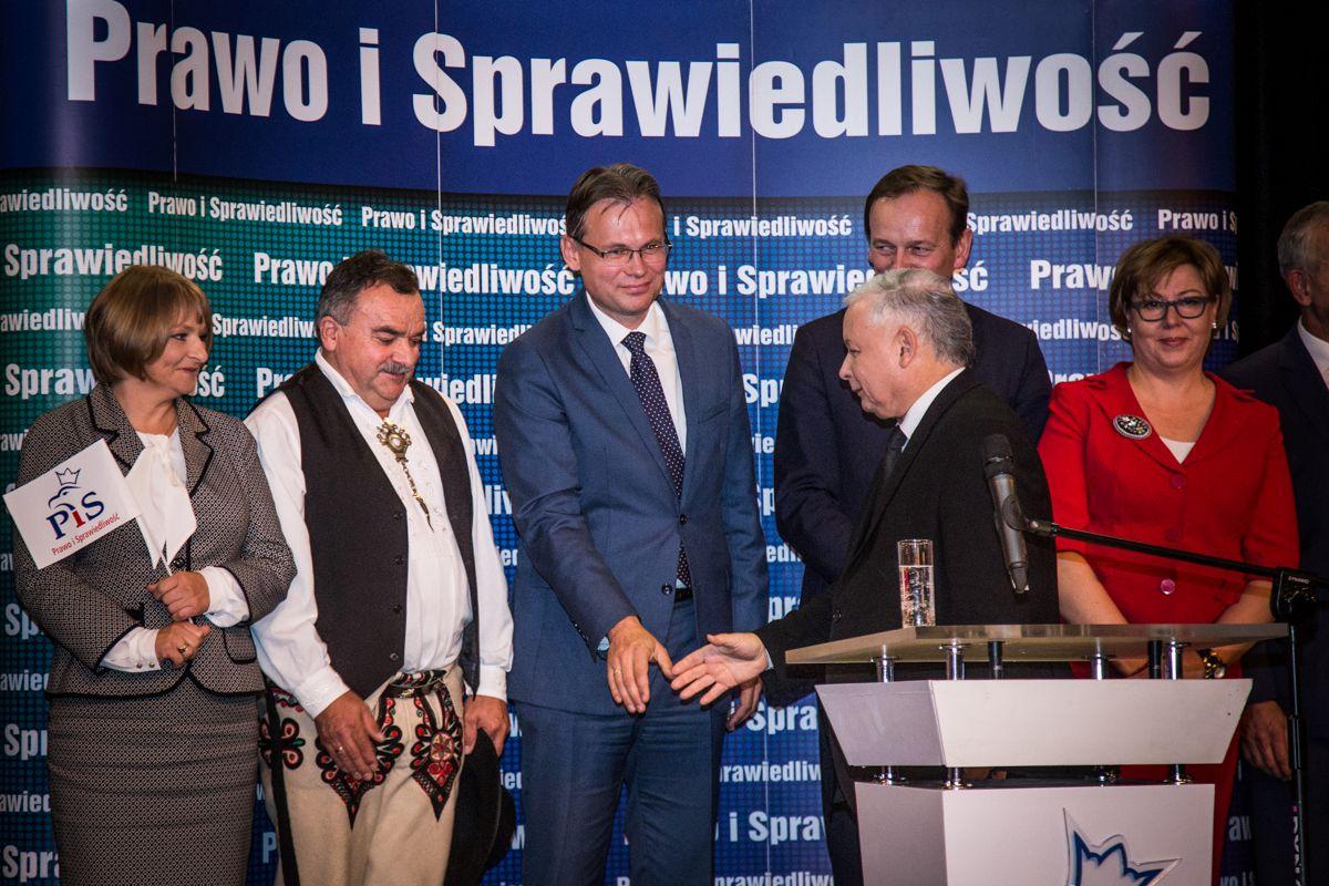 Jarosław Kaczyński i Arkadiusz Mularczyk w Nowym Sączu