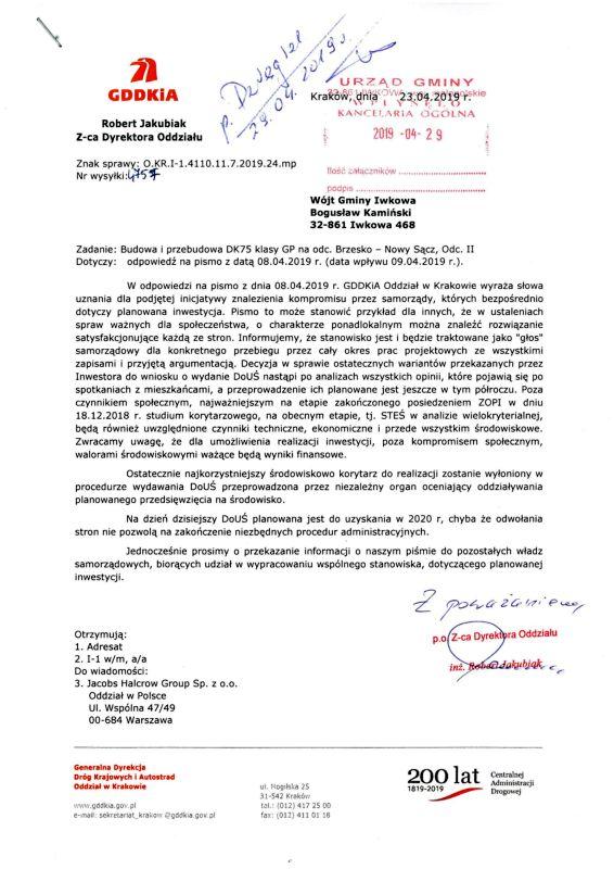 GDDKiA o stanowisku samorządów w sprawie przebiegu Sądeczanki